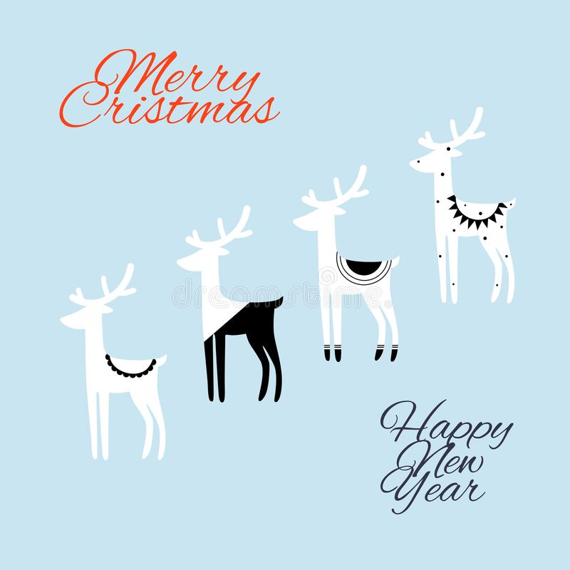 Hand drawn vector abstract black white deer Merry Christmas and Happy New Year time vintage cartoon illustrations greeting card te. Mplate. Blue background stock illustration