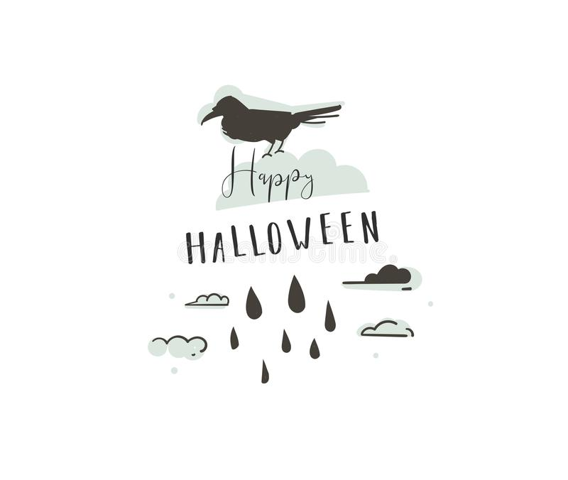 Hand drawn vector abstract cartoon Happy Halloween illustrations party design elements with raven and modern calligraphy royalty free illustration