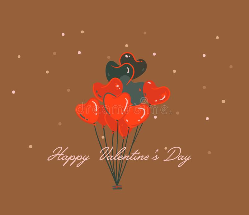 Hand drawn vector abstract cartoon modern graphic Happy Valentines day concept illustrations art card with heart hot air royalty free illustration