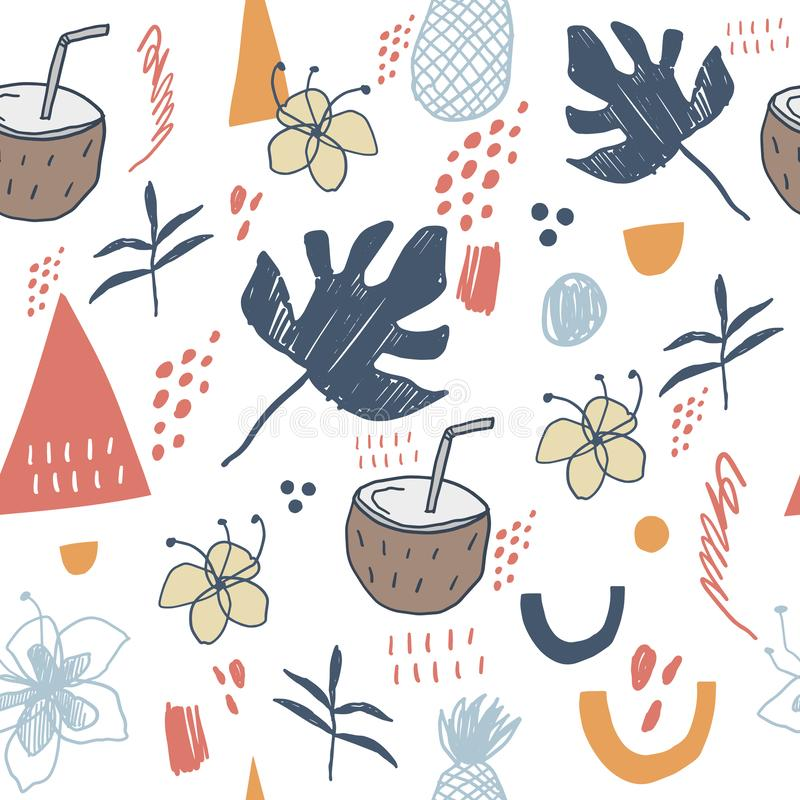 Hand drawn vector abstract cartoon summer seamless pattern. Cartoon illustration, seamless pattern with coconut, palm leaves, royalty free illustration