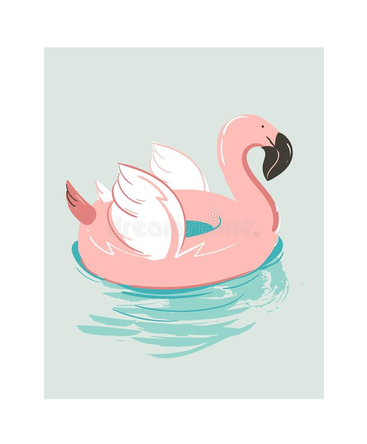 Hand drawn vector abstract cartoon summer time fun illustration with pink flamingo buoy float circle isolated on blue vector illustration