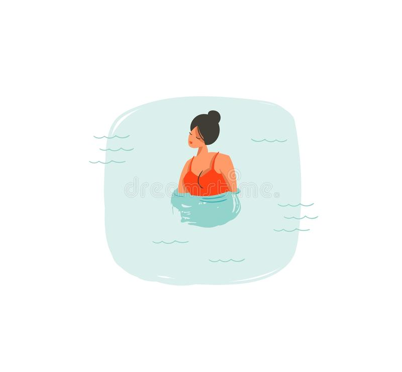 Hand drawn vector abstract cartoon summer time fun illustrations icon with swimming girl in blue ocean waves isolated on stock illustration