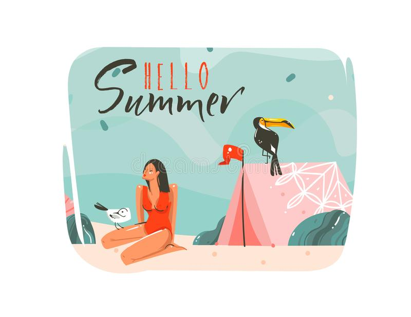 Hand drawn vector abstract cartoon summer time graphic illustrations art template background with ocean beach landscape royalty free illustration