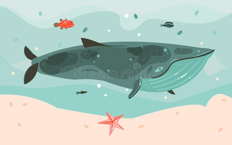 Hand drawn vector abstract cartoon summer time graphic illustrations art template background with ocean bottom,big whale stock illustration