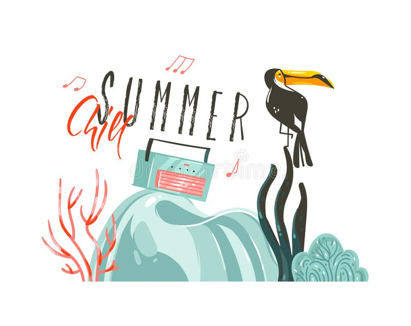 Hand drawn vector abstract cartoon summer time graphic illustrations art template party sign background with toucan bird stock illustration