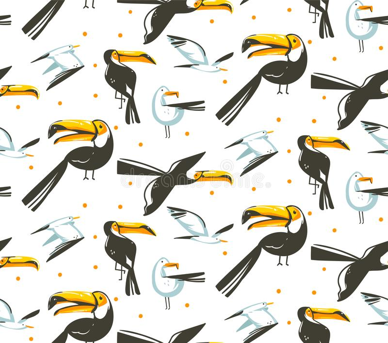 Hand drawn vector abstract cartoon summer time graphic illustrations artistic seamless pattern with beach gull and. Toucan birds beach vacation isolated on vector illustration