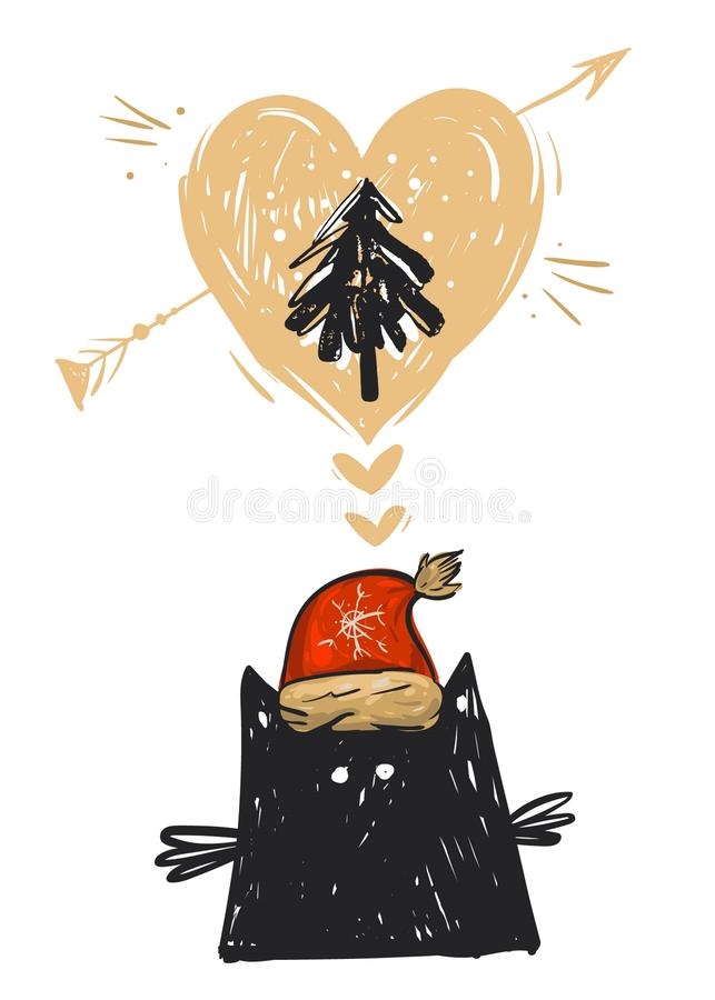 Hand drawn vector abstract Christmas card with illustration of black cat funny character in red Santa Claus hat stock illustration