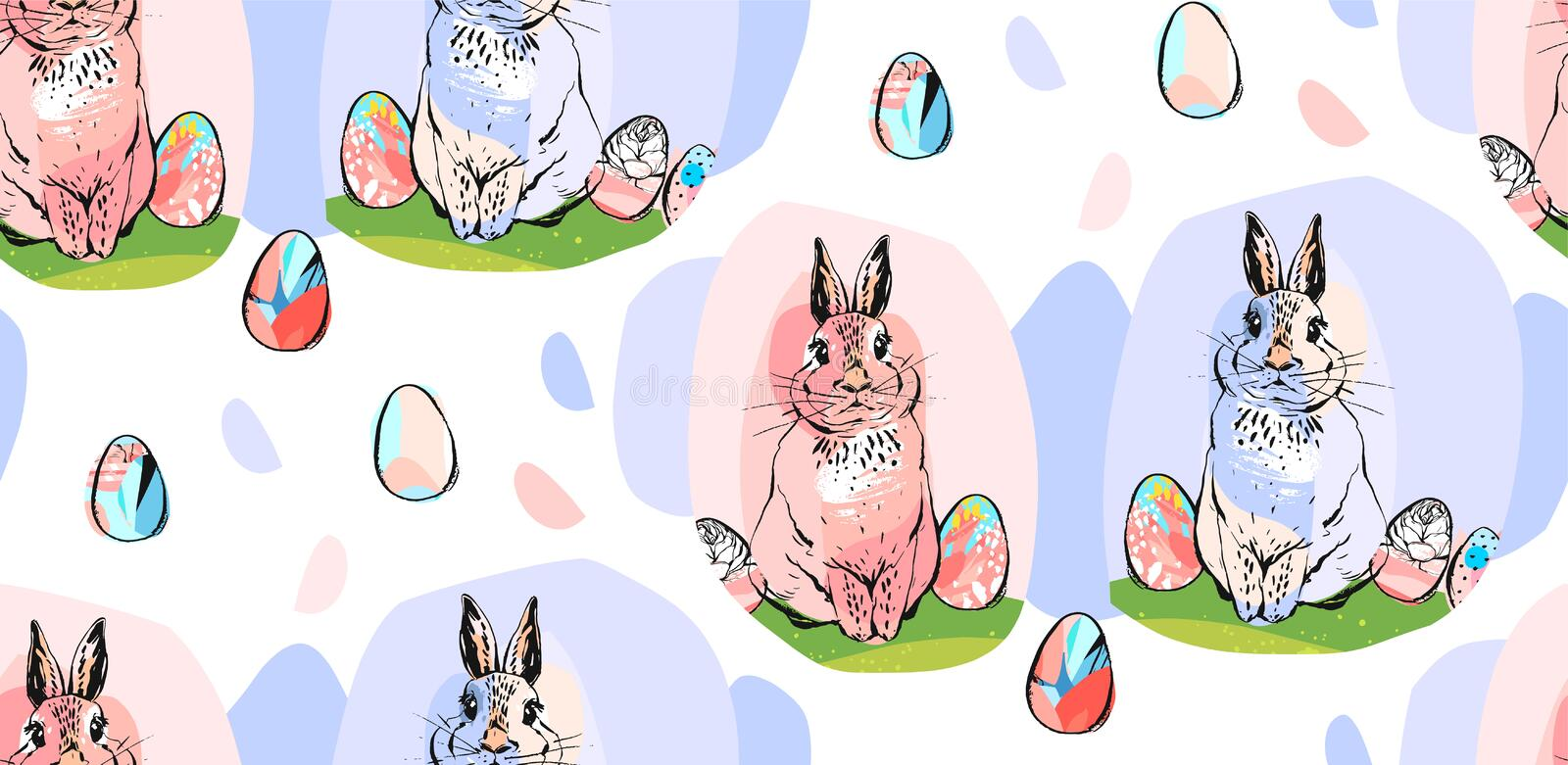 Hand drawn vector abstract collage drawing cute seamless pattern with realistic rabbits and Easter eggs in pastel colors royalty free illustration