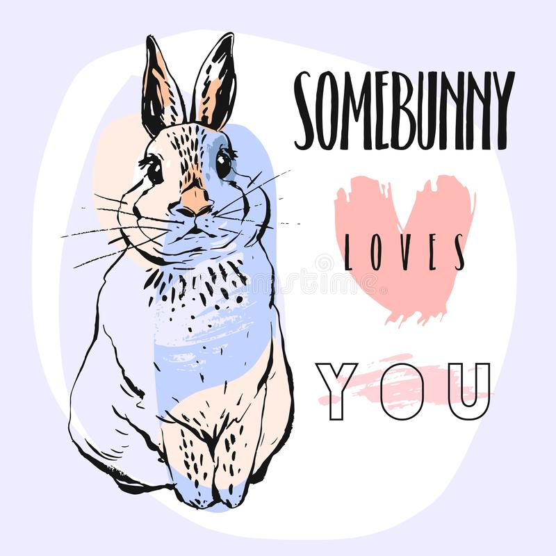 Hand drawn vector abstract collage funny poster with rabbit and calligraphy quote Somebunny loves you in pastel colors stock illustration