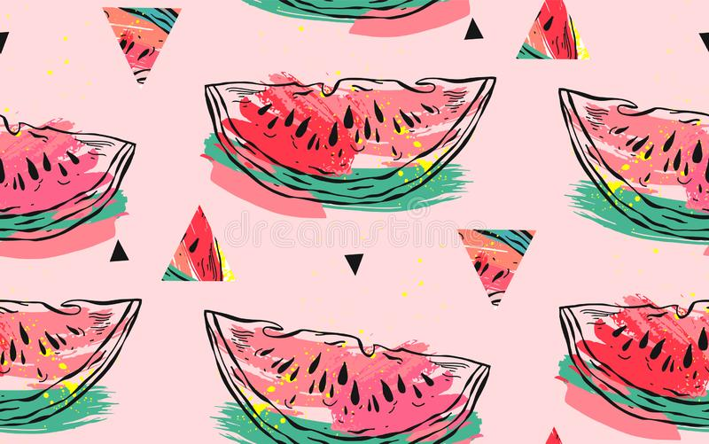 Hand drawn vector abstract collage seamless pattern with watermelon motif,triangle hipster shapes and artistic freehand. Textures isolated on pink pastel vector illustration