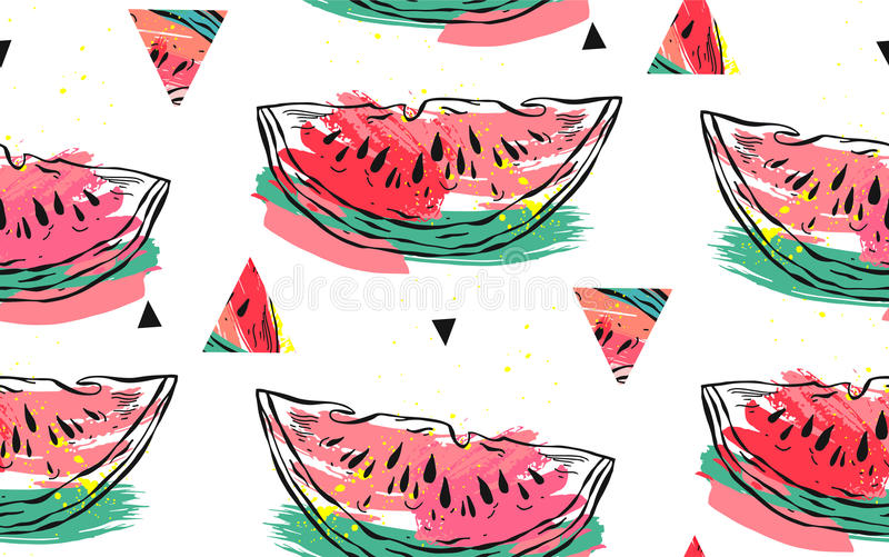 Hand drawn vector abstract collage seamless pattern with watermelon motif and triangle hipster shapes isolated on white royalty free illustration