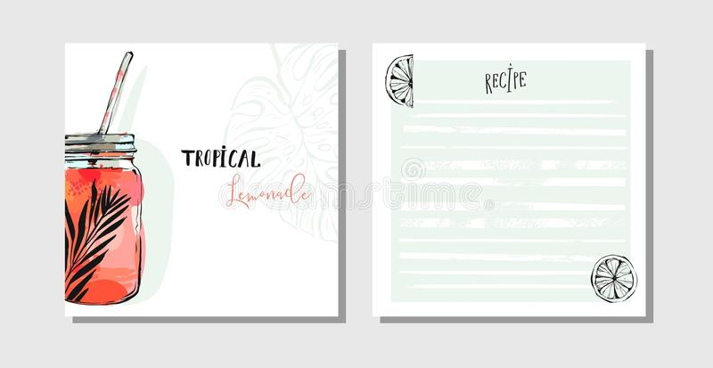 Hand drawn vector abstract cooking cards recipe collection set template with detox water drink glass jar,lemons and. Tropical palm leaves isolated on white vector illustration