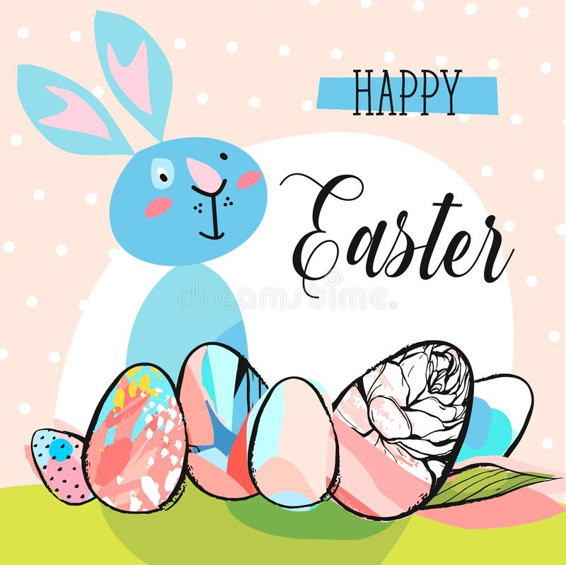 Hand Drawn Vector Abstract Creative Cute Happy Easter Greeting Card