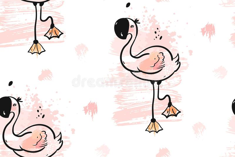 Hand drawn vector abstract creative unusual tropical cute seamless pattern with pink flamingo in pastel colors isolated. On white background.Wedding,birthday vector illustration