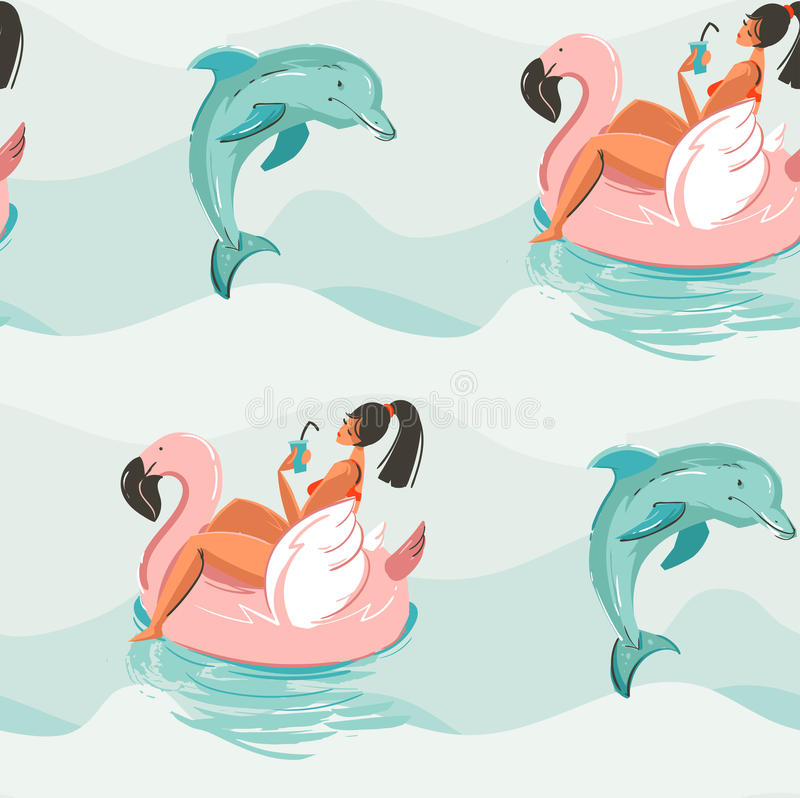 Hand drawn vector abstract cute summer time seamless pattern with beach girl swimming on pink flamingo float circle and vector illustration