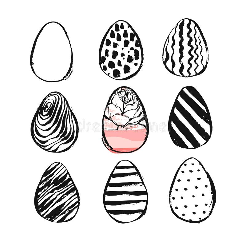 Hand drawn vector abstract Easter brush painted eggs collection set with floral motif in black and white colors isolated vector illustration