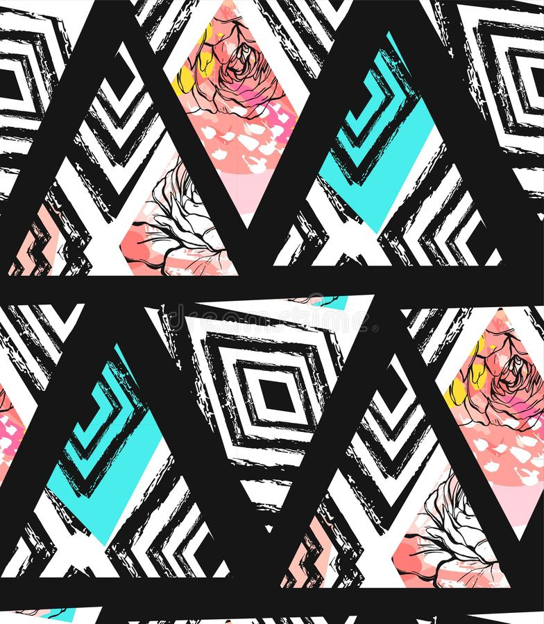 Hand drawn vector abstract freehand textured seamless pattern collage with zebra mottif,organic textures,triangles and royalty free illustration