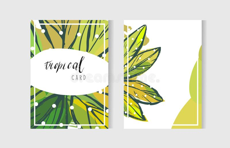 Hand drawn vector abstract freehand textured unusual tropical cards set collection template with exotic palm leaves stock illustration