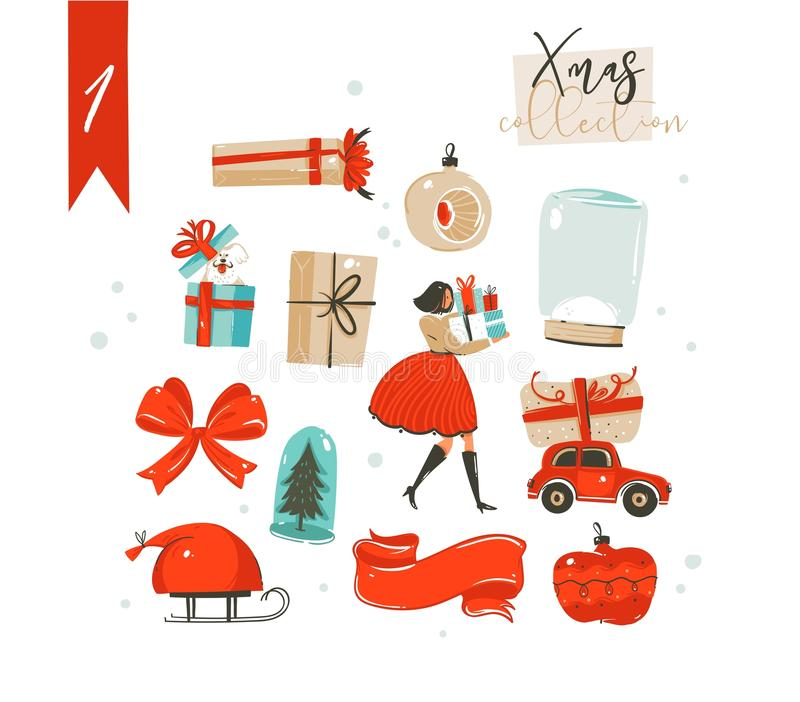 Hand drawn vector abstract fun cartoon classic Merry Christmas time illustrations decoration elements collection set stock illustration