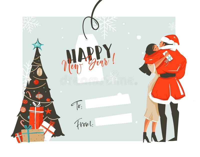 Hand drawn vector abstract fun Happy New Year time cartoon retro vintage illustrations card with romantic couple who. Kissing and hugging,xmas tree and place royalty free illustration