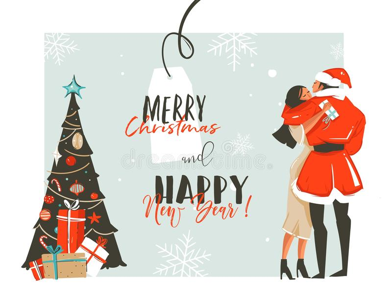 Hand drawn vector abstract fun Happy New Year time cartoon retro vintage illustrations card with romantic couple who. Kissing and hugging,xmas tree and stock illustration