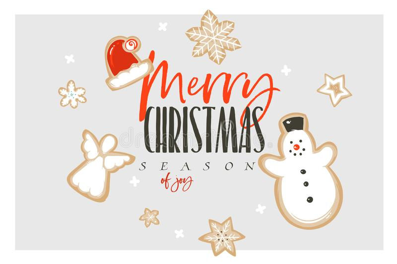 Hand drawn vector abstract fun Merry Christmas and Happy New Year time cartoon illustration greeting card with royalty free illustration