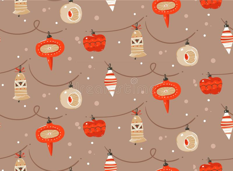 Hand drawn vector abstract fun Merry Christmas and Happy New Year time cartoon rustic festive seamless pattern with cute vector illustration