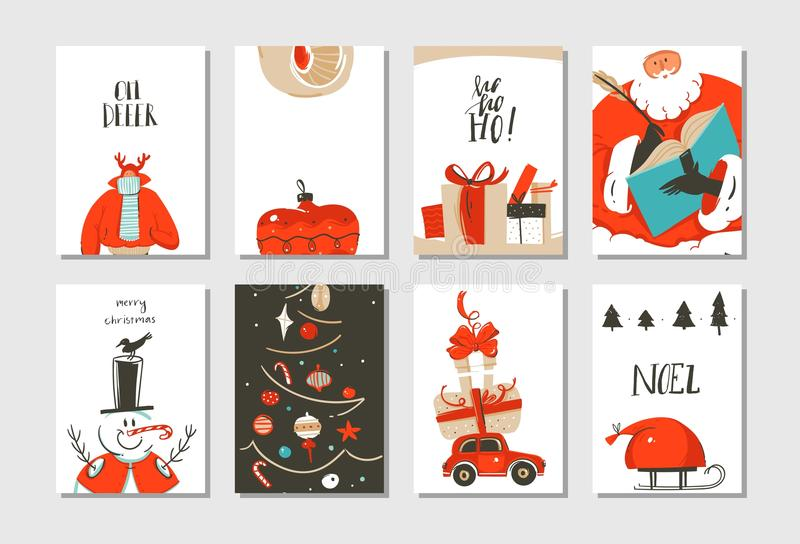 Hand drawn vector abstract fun Merry Christmas time cartoon cards collection set with cute illustrations,surprise gift. Boxes ,Christmas tree and modern vector illustration