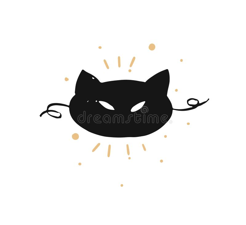 Hand drawn vector abstract fun Merry Christmas time cartoon doodle rustic festive illustration icon with cute holiday. Black cat mask isolated on white stock illustration