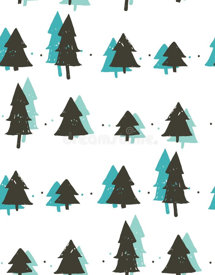 Hand drawn vector abstract fun Merry Christmas time cartoon freehand illustration seamless pattern with vintage retro. Christmas trees forest isolated on white royalty free illustration