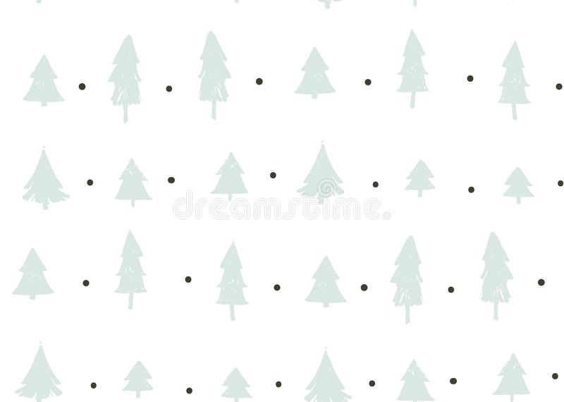 Hand drawn vector abstract fun Merry Christmas time cartoon freehand illustration seamless pattern with vintage retro. Christmas trees forest on white stock illustration