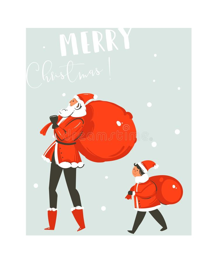 Hand drawn vector abstract fun Merry Christmas time cartoon illustration card with big and small Santa Claus family with stock illustration