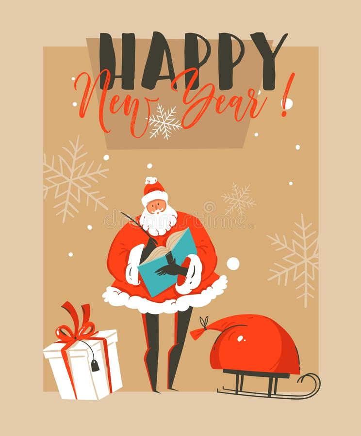Hand drawn vector abstract fun Merry Christmas time cartoon illustration greeting card with Santa Claus,sleigh,surprise vector illustration