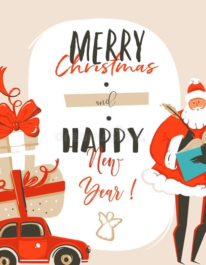 Hand drawn vector abstract fun Merry Christmas time cartoon illustration greeting card tag with Santa Claus,car,surprise stock illustration