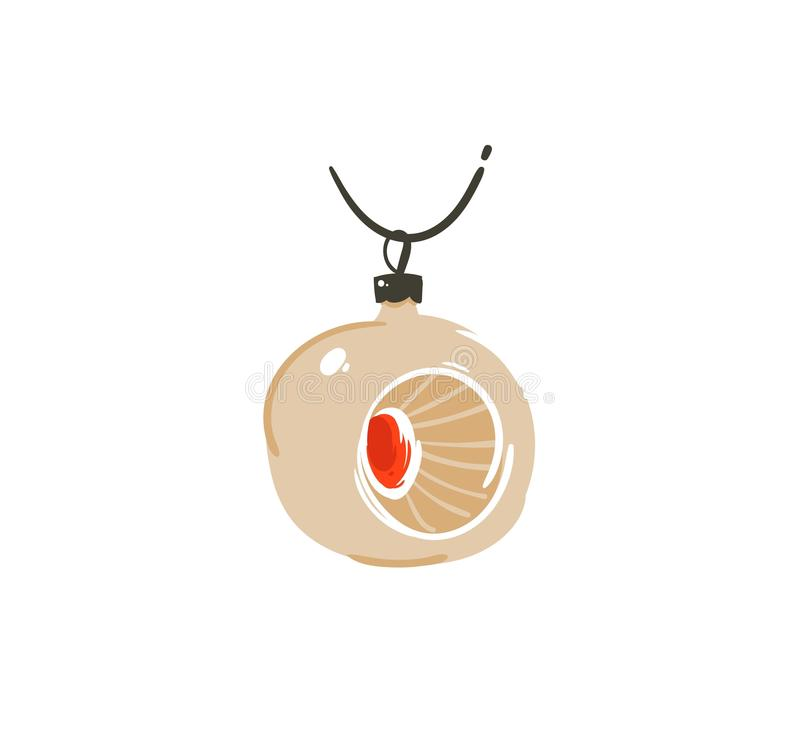 Hand drawn vector abstract fun Merry Christmas time cartoon illustration icon with cute retro vintage Christmas bauble. Isolated on white background stock illustration