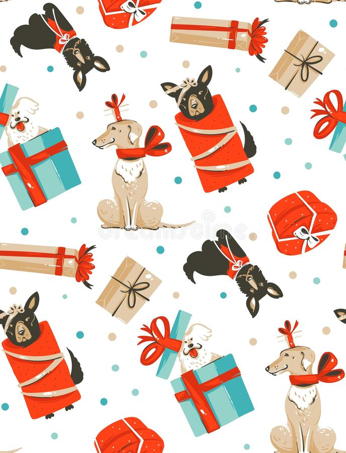 Hand drawn vector abstract fun Merry Christmas time cartoon illustrations seamless pattern with cute funny mammal dogs. In vintage Christmas gifts boxes royalty free illustration