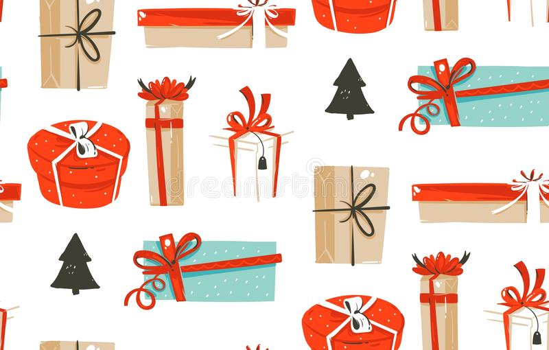 Hand drawn vector abstract fun Merry Christmas time cartoon illustrations seamless pattern with cute retro vintage. Christmas gifts boxes isolated on white vector illustration