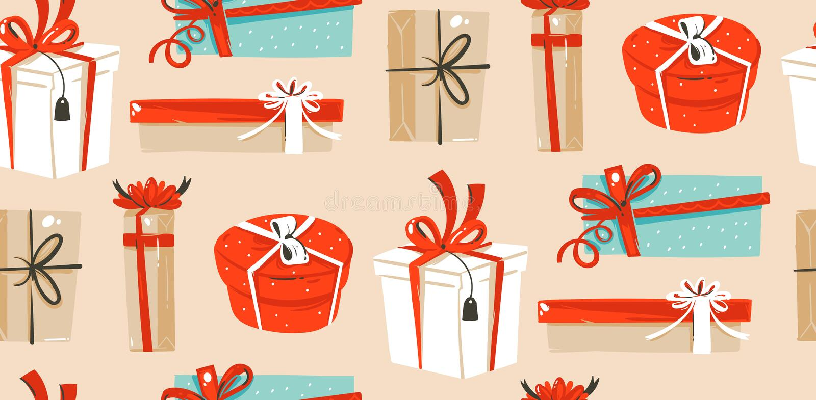 Hand drawn vector abstract fun Merry Christmas time cartoon illustrations seamless pattern with cute retro vintage. Christmas gifts boxes isolated on craft vector illustration