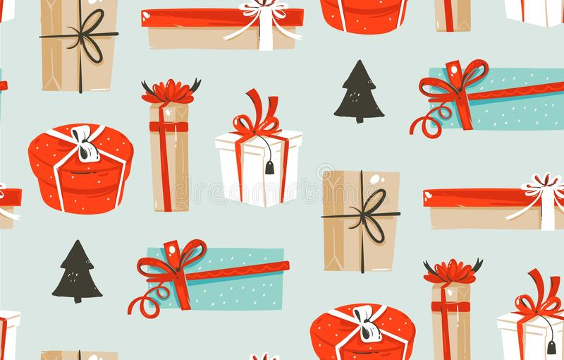 Hand drawn vector abstract fun Merry Christmas time cartoon illustrations seamless pattern with cute retro vintage. Christmas gifts boxes on blue background royalty free illustration