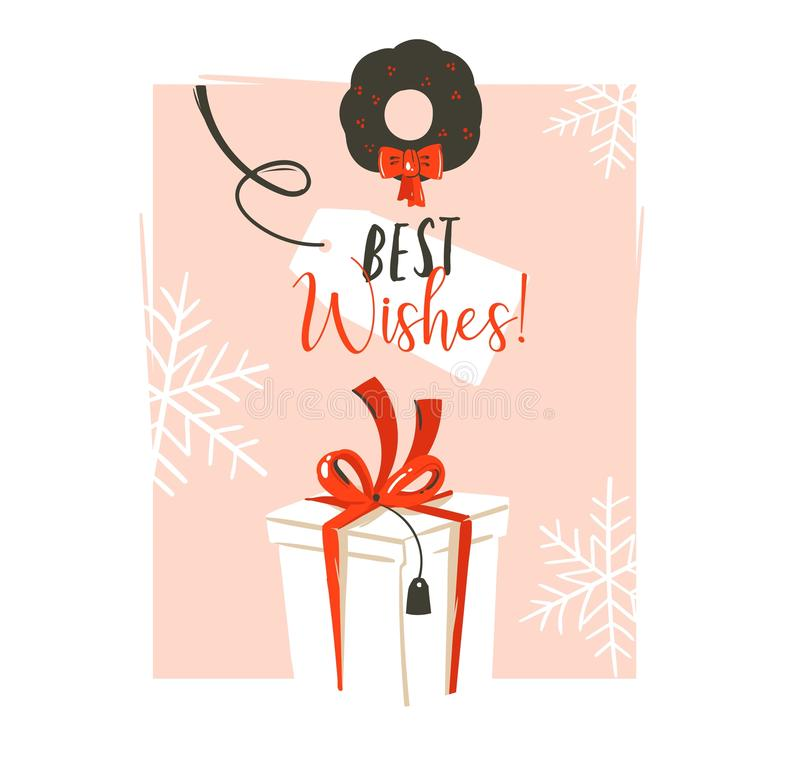 Hand drawn vector abstract fun Merry Christmas time cartoon retro vintage illustration greeting card with big white. Surprise gift box and Best Wishes stock illustration