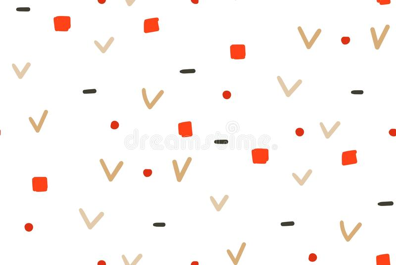 Hand drawn vector abstract fun Merry Christmas time simple seamless pattern on white background.  royalty free illustration