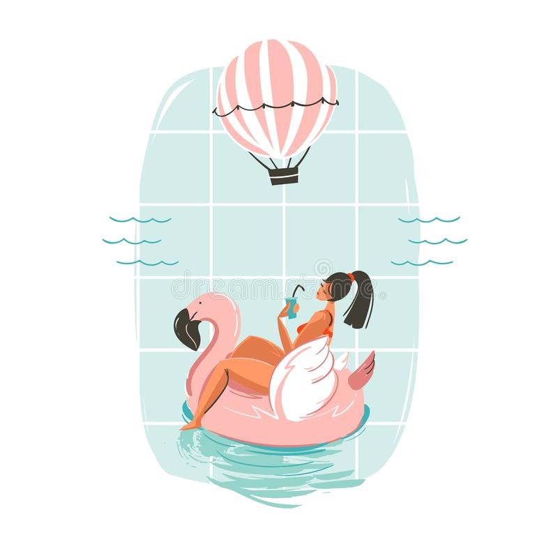 Free Hand Drawn Vector Abstract Fun Summer Time Illustration Card With Girl Swimming On Pink Flamingo Float Circle In Blue Royalty Free Stock Image - 98190976