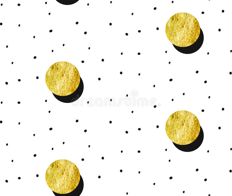 Hand drawn vector abstract gold full moon seamless pattern and polka dots texture isolated on white background.Design vector illustration