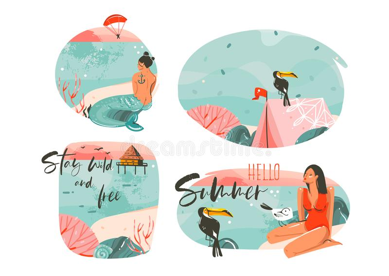 Hand drawn vector abstract graphic cartoon summer time flat illustrations sign collection set with girl,mermaid,camping. Tent,toucan birds and typography quotes stock illustration
