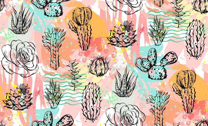 Hand drawn vector abstract graphic creative succulent,cactus and plants seamless pattern on colorful artistic brush vector illustration