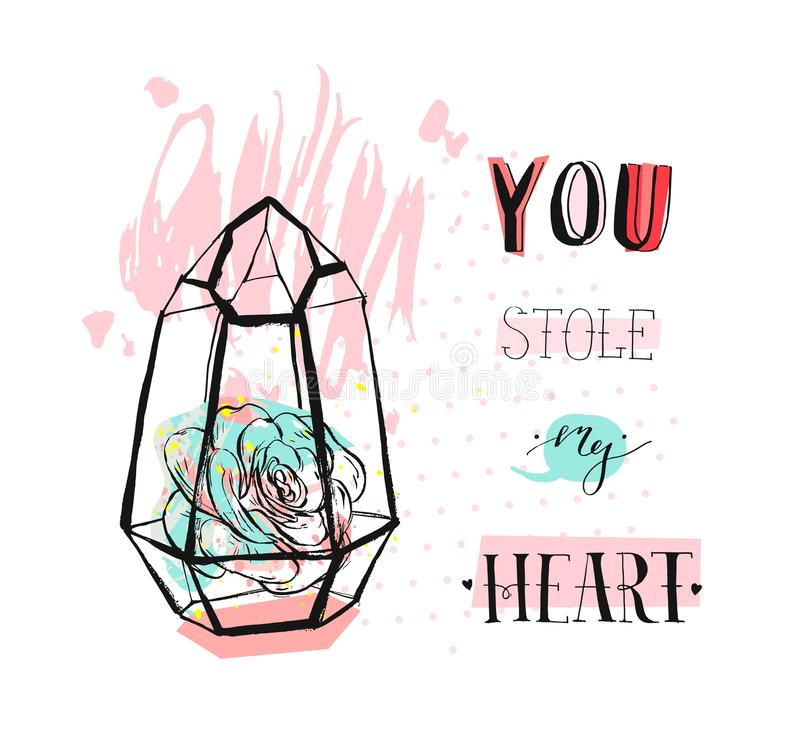 Hand drawn vector abstract graphic Love concept greeting card design with succulent plant in glass terrarium and modern. Calligraphy phase You stole my heart in stock illustration