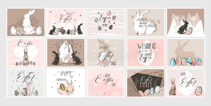 Hand drawn vector abstract graphic scandinavian collage Happy Easter cute illustrations greeting cards template. Collection set and Happy Easter handwritten stock illustration
