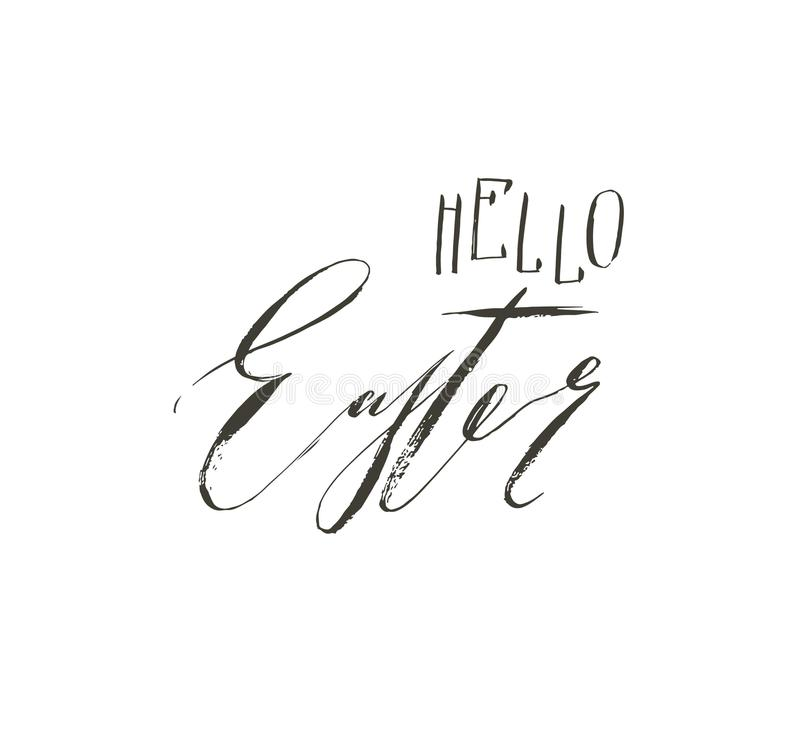 Hand drawn vector abstract graphic scandinavian Happy Easter cute greeting card template with Hello Easter handwritten vector illustration