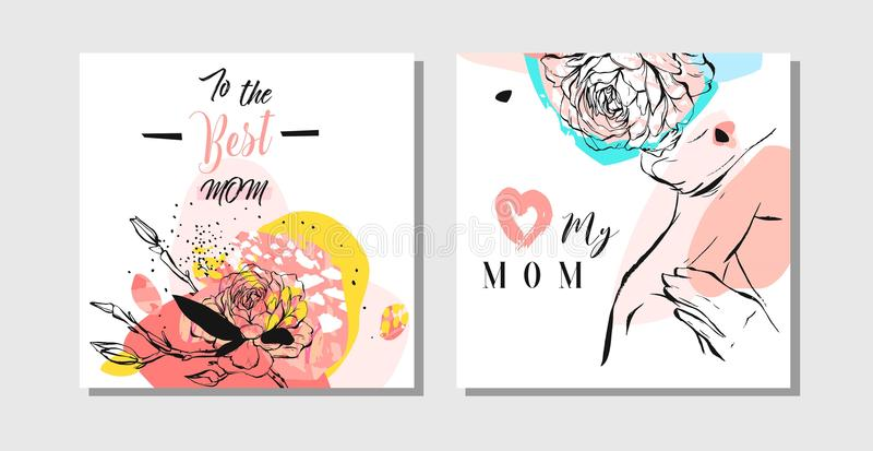 Hand drawn vector abstract greeting cards set with Happy Mother s Day typography and woman figure with abstract flowers vector illustration