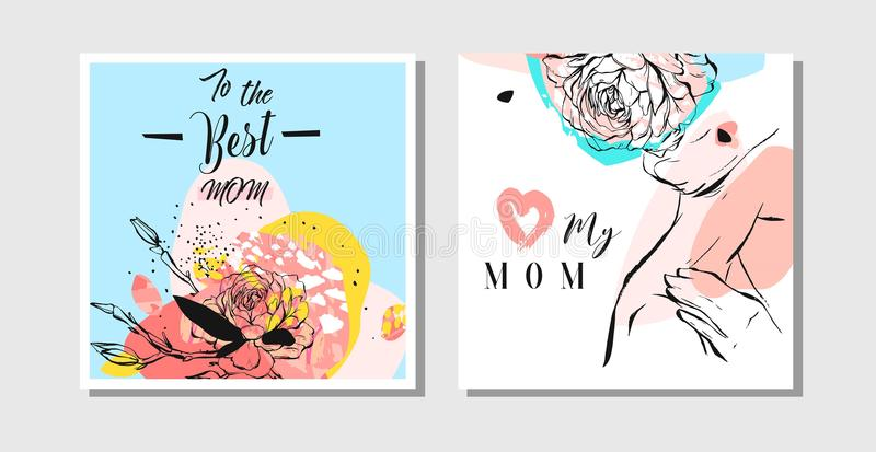 Hand drawn vector abstract greeting cards set with Happy Mothers Day Calligraphy and woman figure with collage flowers stock illustration